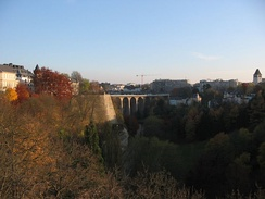 Luxembourg City: The Passerelle, also known as the viaduct or old bridge, overseeing the Pétrusse river valley; it opened in 1861.
