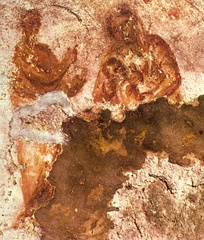 Mary nursing the Infant Jesus. Early image from the Catacomb of Priscilla, Rome, c. 2nd century.