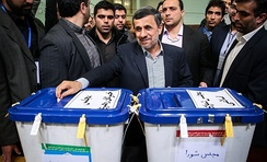 Ahmadinejad casting his vote in 2016 elections