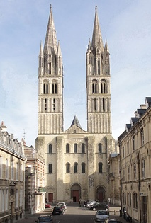 Saint-Étienne, Abbaye aux Hommes, Caen, France, 11th century, with its tall towers, three portals and neat definition of architectural forms became a model for the facades of many later cathedrals across Europe. 14th-century spires