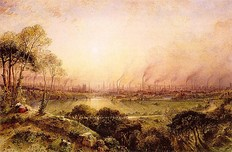 View from Kersal Moor towards Manchester by Thomas Pether, circa 1820, then still a rural landscape.