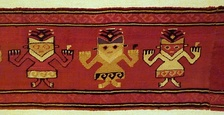 Mantle border fragment of funerary cloth with anthropomorphic feline figures