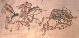 A medieval drawing of William the Marshal riding a horse, impaling another knight with a lance.