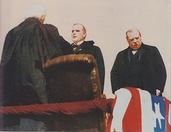 Outgoing President Grover Cleveland, at right, stands nearby as William McKinley is sworn in as president by Chief Justice Melville Fuller.