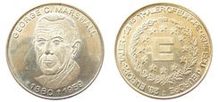 Medallion issued in 1982 to honor George Marshall's post-war work for Europe
