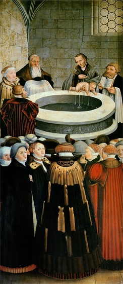 German reformer Philipp Melanchthon baptizing an infant
