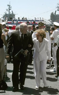 Vice President Cheney escorts former first lady Nancy Reagan at the commissioning ceremony of the USS Ronald Reagan, 2003