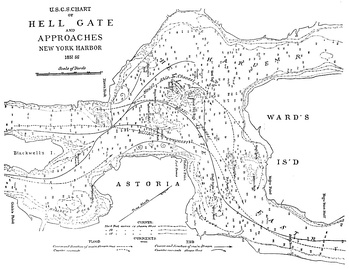 A navigation map for Hell Gate from c.1885, after many of the obstructions had been removed.