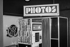 A photo booth at a hotel