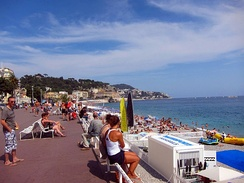 The Promenade des Anglais, next to the beach