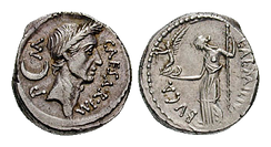 A denarius from 44 BC, showing Julius Caesar on the obverse and the goddess Venus on the reverse of the coin.