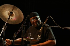 Percussionist Rashied Ali (pictured in 2007) augmented Coltrane's sound.
