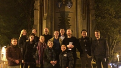 A group of Wycliffe Hall students at Martyrs' Memorial