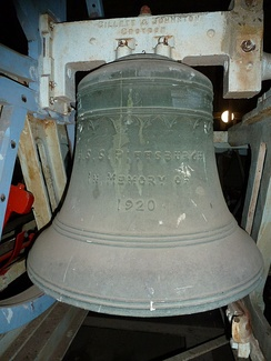Number 3 bell with USS Pittsburgh memorial inscription (diameter measures 30 inches (760 mm))
