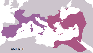 The Roman Empire in 460 during the reign of Leo