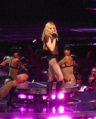 "Madonna performing ""Vogue"" on the Sticky & Sweet Tour."