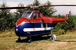 Sikorsky UH-19 at the Canadian Museum of Flight 1988.The aircraft is painted as it would have looked while working on the construction of the Mid-Canada Line. Note early-style straight tailboom.