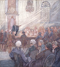 The Legislative Assembly of Lower Canada in 1792. Elective assemblies existed in British North America since the 18th century, although the colonies' executive councils were not beholden to them.
