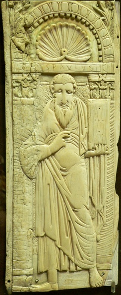 Saint Paul, Byzantine ivory relief, 6th – early 7th century (Musée de Cluny)