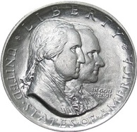 George Washington and Calvin Coolidge on the 1926 Sesquicentennial of American Independence commemorative half dollar