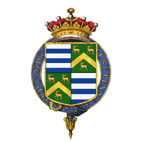 Arms of Thomas de Grey, 2nd Earl de Grey, KG, PC, FRS. Grey quartering: Vert, a chevron between three bucks standing at gaze or (Robinson (Robinson baronets of Newby, cr.1660))