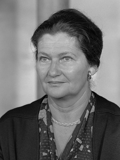 Simone Veil (1927–2017), former French Minister of Health (1974–79). She made easier access to contraceptive pills and legalized abortion (1974–75) – which was her greatest and hardest achievement.