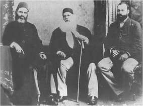 Nawab Mohsin ul Mulk,(left) who organised the Simla deputation, with Sir Syed Ahmed Khan (Centre), Sir Syed's son Justice Syed Mahmood (extreme right). Syed Mahmood was the first Muslim to serve as a High Court judge in the British Raj.