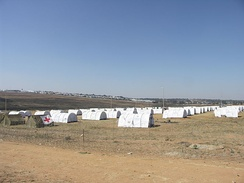 UNHCR tents at a refugee camp following episodes of anti-immigrant violence in South Africa, 2008