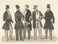 Top hats in the 1840s. Swedish Fashion plate from 1847