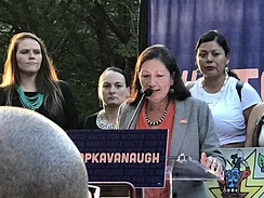 "Haaland speaks at ""Stop Kavanaugh Rally"" at the U.S. Capitol in 2018"