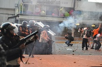Tear gas being used against opposition protesters during the 2014 Venezuelan protests