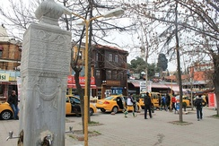 Ottoman square fountain and Yalı Street.