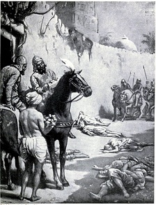 The image, in the chapter on India in Hutchison's Story of the Nations edited by James Meston, depicts the Muslim Turkic general Muhammad Bakhtiyar Khilji's massacre of Buddhist monks in Bihar, India. Khaliji destroyed the Nalanda and Vikramshila universities during his raids across North Indian plains, massacring many Buddhist and Brahmin scholars.[303]