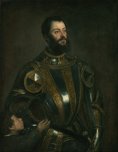 Portrait of Alfonso d'Avalos and a page by Titian, c. 1533.