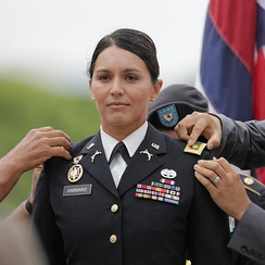 Gabbard at the ceremony of her promotion to major on October 12, 2015