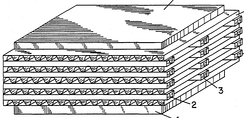 Use of corrugated plastic in welded hollow plastic plate air-to-air heat exchangers. From U.S. Patent 4,820,468[1]