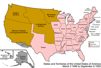 The United States in 1849, with Texas's land claims on New Mexico shown