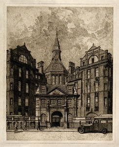 Etching by Paul Waterhouse of the Cruciform Building on Gower Street