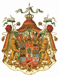 German heraldry has examples of shields with numerous crests, as this arms of Saxe-Altenburg featuring a total of seven crests. Some thaler coins display as many as fifteen.