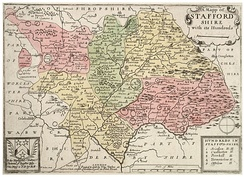Map of the Hundreds of Staffordshire, c. 1650. North is to the right.