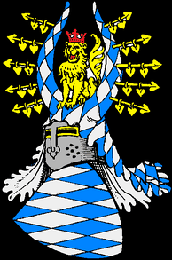 Coat of arms (13th to 14th century). The white-and-blue lozenges came to the family when Otto II Wittelsbach, Duke of Bavaria acquired the county of Bogen in 1240