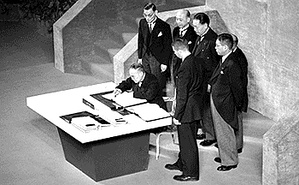 Members of the Japanese delegation signing the Treaty of San Francisco.
