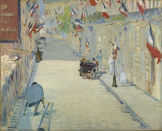 Édouard Manet, The Rue Mosnier with Flags [fr], 1878