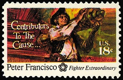Postage stamp depicting Francisco's feat of strength at Camden