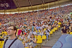 Audiences at the 2013 World Championships in Athletics in Moscow, Russia.