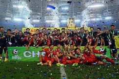 Thailand national team celebrating after winning the 2014 AFF Suzuki Cup at Bukit Jalil National Stadium, Malaysia.
