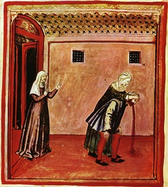 A Renaissance drawing with vivid colours depicting a woman holding the head of a man, who is bent over and expelling a brownish-red material from his mouth. A second woman stands at the left of the image in the doorway to the room, and appears to offer support. A crude representation of vomiting.