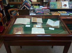 A display of Alfred Russel Wallace notebooks in the Linnean Society library