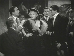 Jack Haley (left), Alice Faye (center), Don Ameche and Tyrone Power (right) in a trailer for Alexander's Ragtime Band.