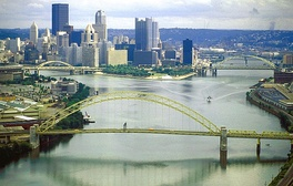 The Allegheny (left) and Monongahela (right) join to form the Ohio River at Pittsburgh, Pennsylvania.